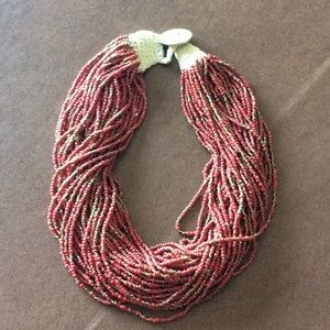 Lucky Brand Multi Strand Necklace-Red/Gold
